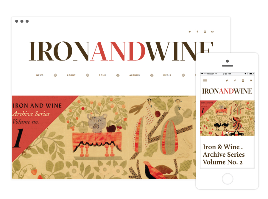 Iron and Wine Website Home Page