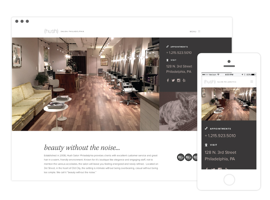 Hush Salon Website